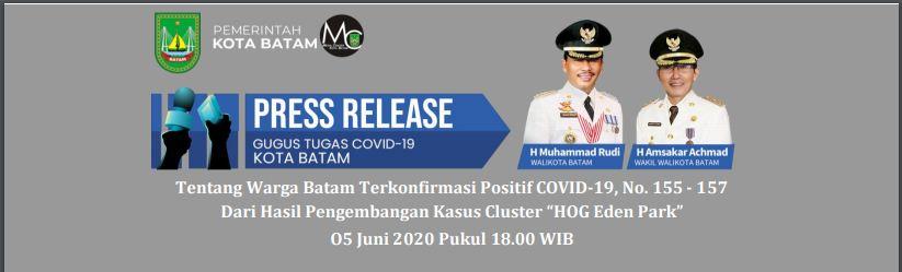 """Press Release: Tentang Warga Batam Terkonfirmasi Positif COVID-19, No. 155 – 157 Dari Hasil Pengembangan Kasus Cluster """"HOG Eden Park"""" (05 Juni 2020 Pukul 18.00 WIB)"""