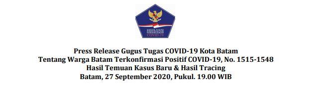 Press Release Gugus Tugas COVID-19 Kota Batam Tentang Warga Batam Terkonfirmasi Positif COVID-19, No. 1515-1548 Hasil Temuan Kasus Baru & Hasil Tracing Batam, 27 September 2020, Pukul. 19.00 WIB
