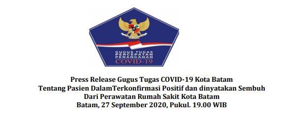 Press Release Gugus Tugas COVID-19 Kota Batam Tentang Pasien DalamTerkonfirmasi Positif dan dinyatakan Sembuh Dari Perawatan Rumah Sakit Kota Batam Batam, 27 September 2020, Pukul. 19.00 WIB