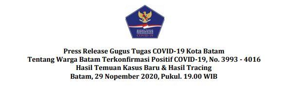 Press Release Gugus Tugas COVID-19 Kota Batam Tentang Warga Batam Terkonfirmasi Positif COVID-19, No. 3993 – 4016 Hasil Temuan Kasus Baru & Hasil Tracing Batam, 29 Nopember 2020, Pukul. 19.00 WIB