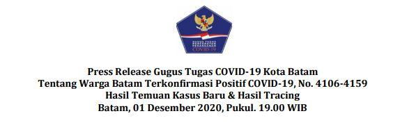 Press Release Gugus Tugas COVID-19 Kota Batam Tentang Warga Batam Terkonfirmasi Positif COVID-19, No. 4106-4159 Hasil Temuan Kasus Baru & Hasil Tracing Batam, 01 Desember 2020, Pukul. 19.00 WIB