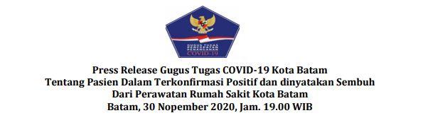 Press Release Gugus Tugas COVID-19 Kota Batam Tentang Pasien Dalam Terkonfirmasi Positif dan dinyatakan Sembuh Dari Perawatan Rumah Sakit Kota Batam Batam, 30 Nopember 2020, Jam. 19.00 WIB
