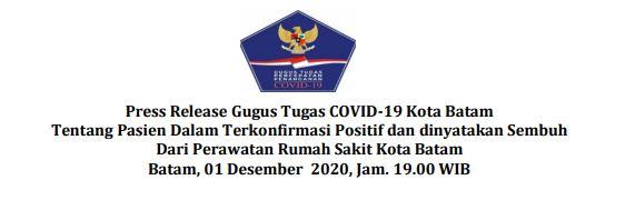 Press Release Gugus Tugas COVID-19 Kota Batam Tentang Pasien Dalam Terkonfirmasi Positif dan dinyatakan Sembuh Dari Perawatan Rumah Sakit Kota Batam Batam, 01 Desember 2020, Jam. 19.00 WIB