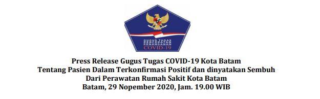 Press Release Gugus Tugas COVID-19 Kota Batam Tentang Pasien Dalam Terkonfirmasi Positif dan dinyatakan Sembuh Dari Perawatan Rumah Sakit Kota Batam Batam, 29 Nopember 2020, Jam. 19.00 WIB
