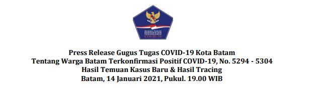 Press Release Gugus Tugas COVID-19 Kota Batam Tentang Warga Batam Terkonfirmasi Positif COVID-19, No. 5294 – 5304 Hasil Temuan Kasus Baru & Hasil Tracing Batam, 14 Januari 2021, Pukul. 19.00 WIB