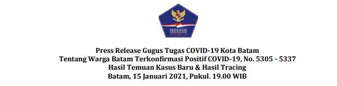 Press Release Gugus Tugas COVID-19 Kota Batam Tentang Warga Batam Terkonfirmasi Positif COVID-19, No. 5305 – 5337 Hasil Temuan Kasus Baru & Hasil Tracing Batam, 15 Januari 2021, Pukul. 19.00 WIB