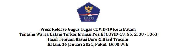 Press Release Gugus Tugas COVID-19 Kota Batam Tentang Warga Batam Terkonfirmasi Positif COVID-19, No. 5338 – 5363 Hasil Temuan Kasus Baru & Hasil Tracing Batam, 16 Januari 2021, Pukul. 19.00 WIB