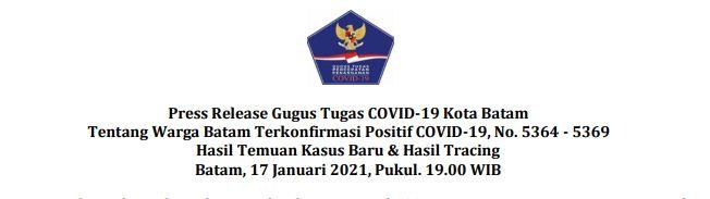 Press Release Gugus Tugas COVID-19 Kota Batam Tentang Warga Batam Terkonfirmasi Positif COVID-19, No. 5364 – 5369 Hasil Temuan Kasus Baru & Hasil Tracing Batam, 17 Januari 2021, Pukul. 19.00 WIB
