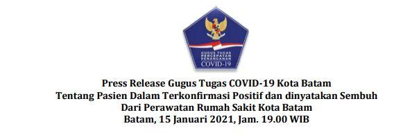 Press Release Gugus Tugas COVID-19 Kota Batam Tentang Pasien Dalam Terkonfirmasi Positif dan dinyatakan Sembuh Dari Perawatan Rumah Sakit Kota Batam Batam, 15 Januari 2021, Jam. 19.00 WIB
