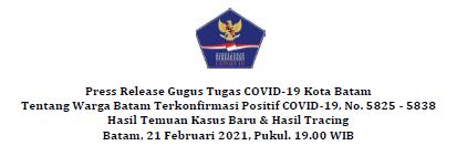 Press Release Gugus Tugas COVID-19 Kota Batam Tentang Warga Batam Terkonfirmasi Positif COVID-19, No. 5825 – 5838 Hasil Temuan Kasus Baru & Hasil Tracing Batam, 21 Februari 2021, Pukul. 19.00 WIB