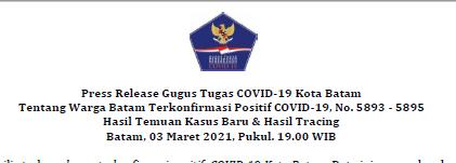 Press Release Gugus Tugas COVID-19 Kota Batam Tentang Warga Batam Terkonfirmasi Positif COVID-19, No. 5893 – 5895 Hasil Temuan Kasus Baru & Hasil Tracing Batam, 03 Maret 2021, Pukul. 19.00 WIB