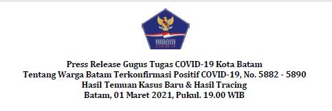 Press Release Gugus Tugas COVID-19 Kota Batam Tentang Warga Batam Terkonfirmasi Positif COVID-19, No. 5882 – 5890 Hasil Temuan Kasus Baru & Hasil Tracing Batam, 01 Maret 2021, Pukul. 19.00 WIB