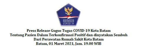Press Release Gugus Tugas COVID-19 Kota Batam Tentang Pasien Dalam Terkonfirmasi Positif dan dinyatakan Sembuh Dari Perawatan Rumah Sakit Kota Batam Batam, 01 Maret 2021, Jam. 19.00 WIB
