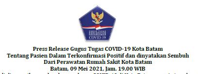 Press Release Gugus Tugas COVID-19 Kota Batam Tentang Pasien Dalam Terkonfirmasi Positif dan dinyatakan Sembuh Dari Perawatan Rumah Sakit Kota Batam Batam, 09 Mei 2021, Jam. 19.00 WIB