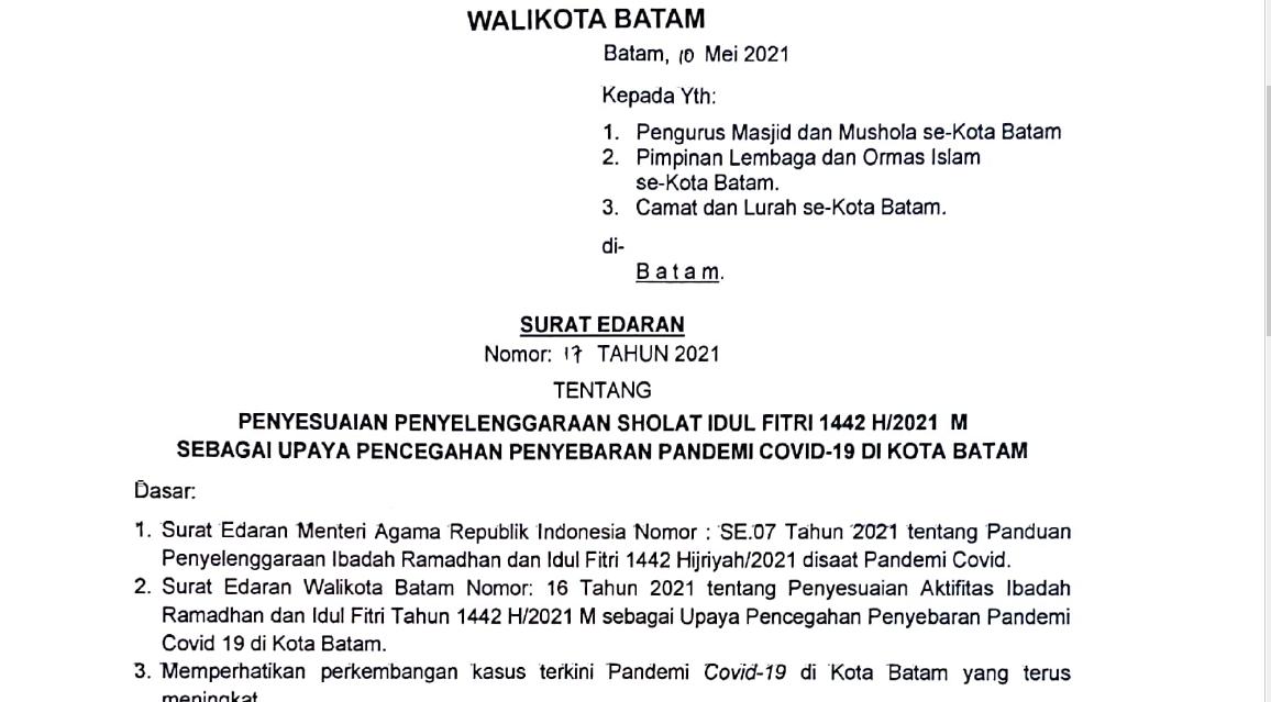 SURAT EDARAN WALIKOTA BATAM TENTANG PENYESUAIAN PENYELENGGARAAN SHOLAT IDUL FITRI 1442H/2021