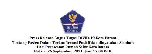 Press Release Gugus Tugas   COVID-19 Kota Batam Tentang Pasien Dalam Terkonfirmasi Positif dan dinyatakan Sembuh Dari Perawatan Rumah Sakit Kota Batam. Batam, 26 September 2021, Jam. 12.00 WIB