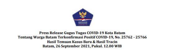 Press Release Gugus Tugas   COVID-19 Kota Batam Tentang Warga Batam Terkonfirmasi Positif COVID-19, No. 25762 – 25766 Hasil Temuan Kasus Baru  Hasil Tracing Batam, 26 September 2021, Pukul. 12.00 WIB