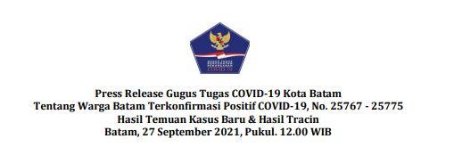 Press Release Gugus Tugas   COVID-19 Kota Batam Tentang Warga Batam Terkonfirmasi Positif COVID-19, No. 25767 – 25775 Hasil Temuan Kasus Baru Hasil Tracing Batam, 27 September 2021, Pukul. 12.00 WIB