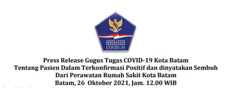 Press Release Gugus Tugas COVID-19 Kota Batam Tentang Pasien Dalam Terkonfirmasi Positif dan dinyatakan Sembuh Dari Perawatan Rumah Sakit Kota Batam Batam, 26 Oktober 2021, Jam. 12.00 WIB