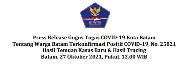 Press Release Gugus Tugas COVID-19 Kota Batam Tentang Warga Batam Terkonfirmasi Positif COVID-19, No. 25821 Hasil Temuan Kasus Baru & Hasil Tracing Batam, 27 Oktober 2021, Pukul. 12.00 WIB