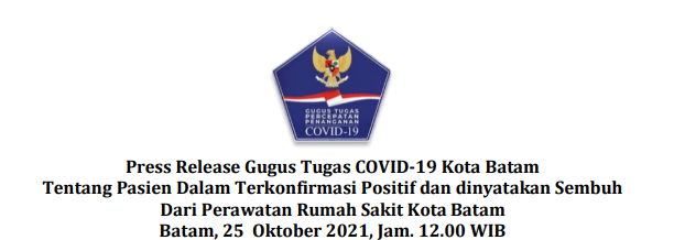 Press Release Gugus Tugas COVID-19 Kota Batam Tentang Pasien Dalam Terkonfirmasi Positif dan dinyatakan Sembuh Dari Perawatan Rumah Sakit Kota Batam Batam, 25 Oktober 2021, Jam. 12.00 WIB