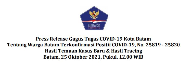 Press Release Gugus Tugas COVID-19 Kota Batam Tentang Warga Batam Terkonfirmasi Positif COVID-19, No. 25819 – 25820 Hasil Temuan Kasus Baru & Hasil Tracing Batam, 25 Oktober 2021, Pukul. 12.00 WIB
