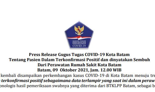 Press Release Gugus Tugas COVID-19 Kota Batam Tentang Pasien Dalam Terkonfirmasi Positif dan dinyatakan Sembuh Dari Perawatan Rumah Sakit Kota Batam Batam, 09 Oktober 2021, Jam. 12.00 WIB